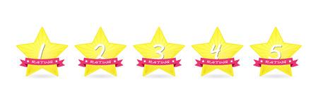Cartoon 5 gold star with ribbon icon set vector award quality illustration Çizim