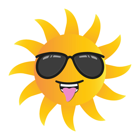 happy funny cartoon sun smiling with sunglasses isolated vector illustration on white background Çizim