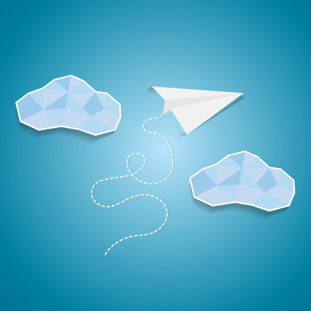 Paper plane flying between clouds.Idea success cutout poster background