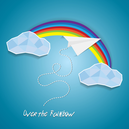 Paper plane flying between clouds and over rainbow.Idea success cutout poster background with text
