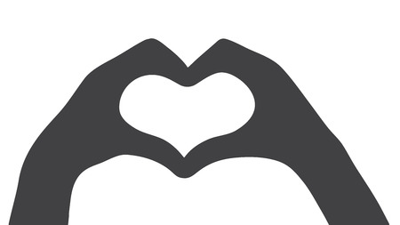 Black silhouette of the heart of the hand gestures isolated vector icon