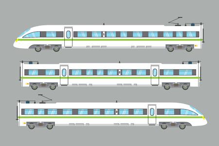 Flat high-speed train isolated.vector express railway illustration.