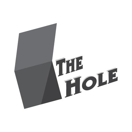 Empty vector deep hole with textThe Hole vector isolated logo illustation. Çizim