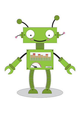 Android toy robot cartoon icon.