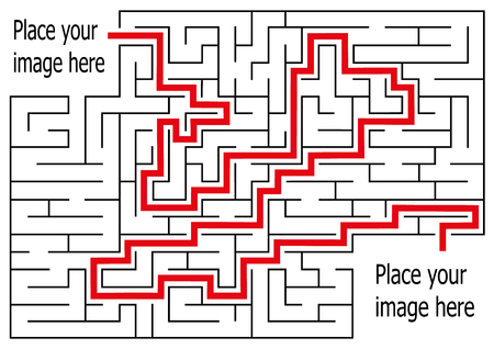 rectangle labyrinth with entry and exit.vector game maze puzzle with solution. Çizim