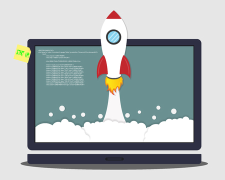 Rocket launch from the laptop. Concept of business start-up cartoon vector illustration Çizim