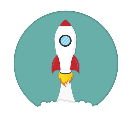 Rocket launch. Startup concept cartoon vector isolated illustration