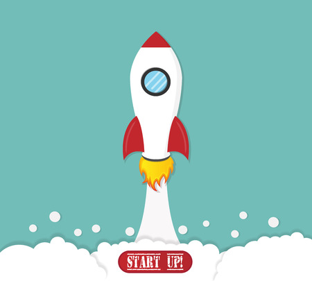 rocket launch start up business concept Çizim