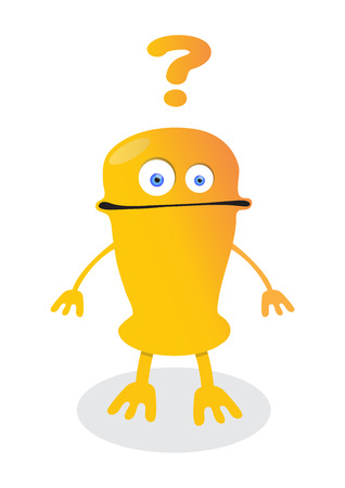 confused emoticon robot with question marks cartoon joy monster character