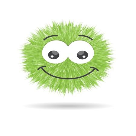 fluffy pompom fur ball isolated vector. cartoon emotions face smiley Çizim