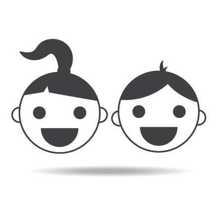 子供の女の子と男の子のチャイルズ ベクトル分離アイコン
