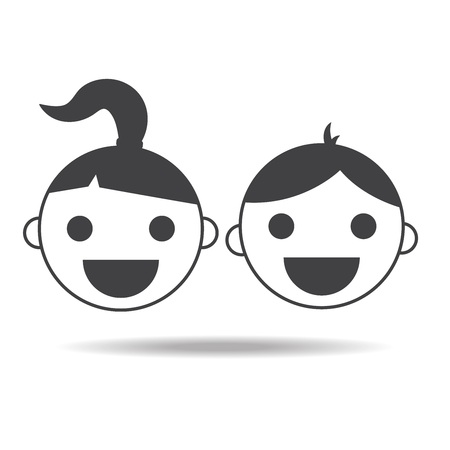 kids girl and boy childs vector icon isolated