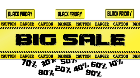Black Friday sale banner Vector illustration of a road sign and yellow ribbons