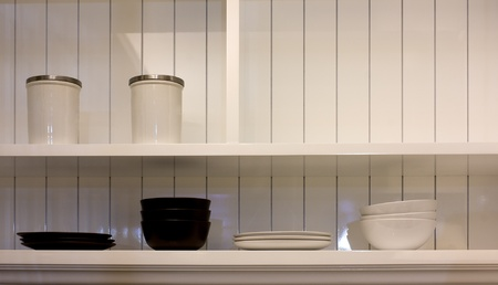 Dish and Bowl in White Cabinet,Modern Kitchen for Life Style