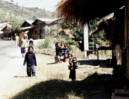 aec: Lao Children in action at Loa Village; lao is Country in AEC. Editorial