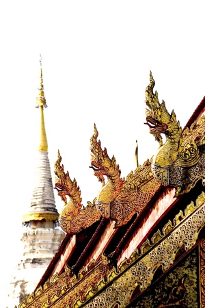 ordain: Golden roof and King of Nagas sculpture, All Texture is Golden, backside is Pagoda.