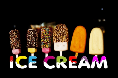 Almond Ice Stick and Fancy Ice Pop with wording Ice Cream on black background  photo