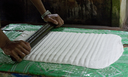 rubber sheet: Make Rubber Sheet from Latex.Latex from Rubber Tree.Plantation Rubber in Thailand.