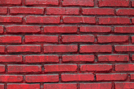 parapet wall: Brick paint with red color Wall is vivid color and polished  Red wall in bow perspective  Stock Photo