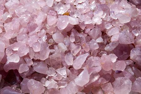 Pink Rose Quartz Agate rock show bird eye view shot.  Stock Photo