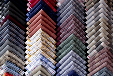 Handkerchief breast pocket of a suit fold pocket Square Top view shot of Handkerchiefs  Stock Photo