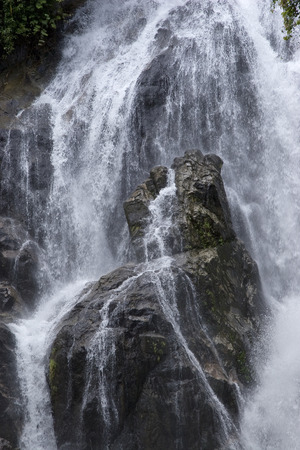 fountainhead: Stream of Waterfall lash down Torrential Water flow hit rock