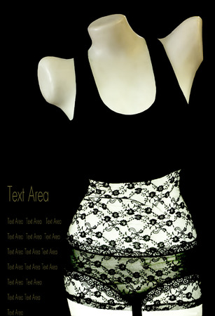 brassiere: Mannequin  bra or brassiere for display on black background.With area text.