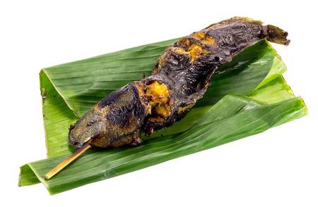 bagre: Bagre a la parrilla yac�a en hoja de pl�tano verde como barbecue.Isolate tiro.