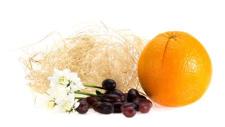 valencia orange: Red Grape and Valencia Orange Set in Studio.White background and little shadow on ground.