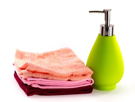 bootle: Pump spray soap bottle and  fold bath fabric for bathroom.