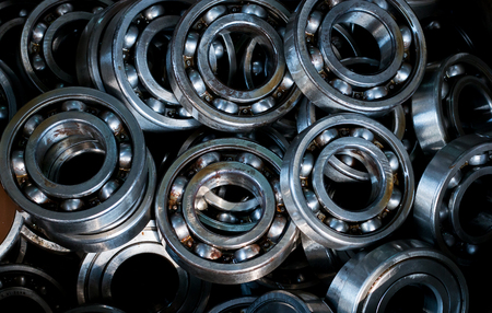 Pile used bearings for recycling,Top view shot.