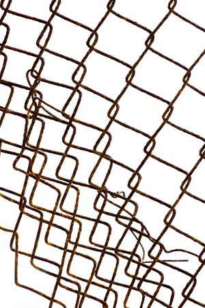 meshed: Rust net on white background.net for forbid area. Stock Photo