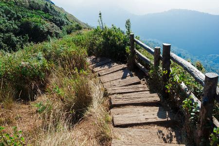guard rail: Guard rail ,wood fence at cliff along jungle way on hight mountain.