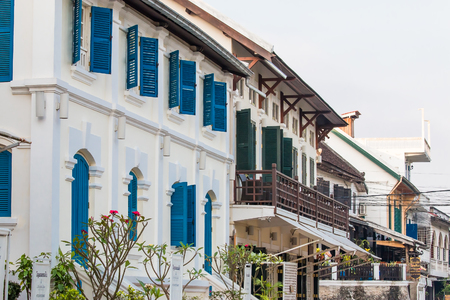 mention: LUANG PRABANG,LAOS - 12 APRIL 2015 : Colonial building style still in Louang Phabang, The old capital of a country,Center of traditions,buddhist religious and country of world heritage.Louang Phabang is celebrated of tourist.