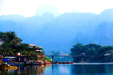 tubing: VANG VIENG, LAOS- 18 APRIL 2015 : Waterfront at end point rafting in Song River, Vang Vieng, Laos, Rafting with kayak and tubing are famous and do not miss enjoy.