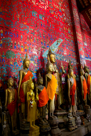 traditions: LUANG PRABANG,LAOS - 12 APRIL 2015 : Ancient Art in temple at Louang Phabang, The old capital of Laos,Center of traditions,buddhist religious and country of world heritage.
