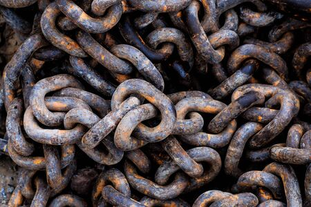 catena: Close up chain pile on ground in construction sites. Stock Photo