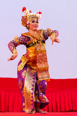dramatics: Ratchaburi, Thailand-April 13, 2016 :  Indonesia ,The ancient  culture dance ,action with eye, face and body movment. Editorial