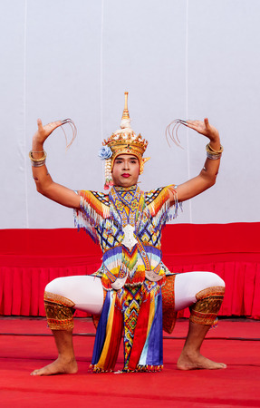 show folk: Rajburi, Thailand - April 13, 2016 : Southern Thailand culture dance.The ancient and old culture of Southern Thailand.