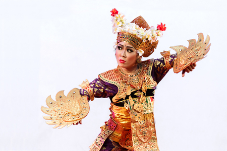 dramatics: atchaburi, Thailand-April 13, 2016 :  Indonesia ,The ancient  culture dance ,action with eye, face and body movment.