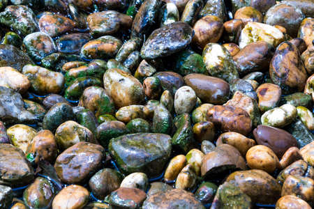 smooth stones: Smooth stones with moss by the  canal, wet from waterfall.