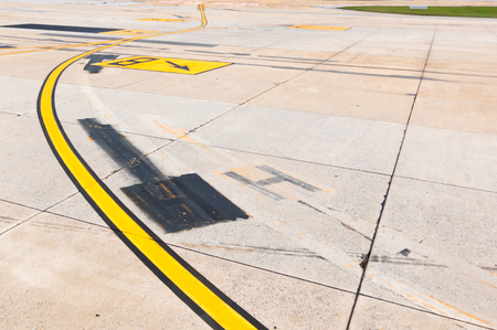 cheapness: Airport runway signal at Start point for take off and landing. Stock Photo