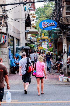 illustrious: : Bangkok, Thailand - September 18, 2015 : The road near Thammasat University and Phra Athit Road are famous of the backpack tourists all over the world.