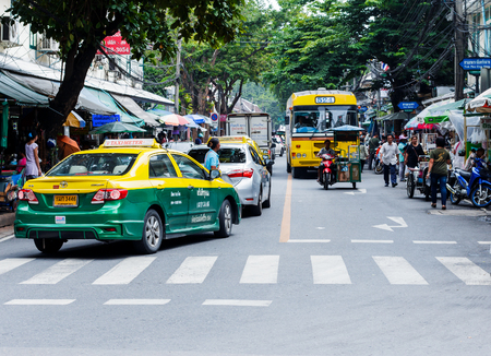 illustrious: Bangkok, Thailand - September 18, 2015 : The road near Thammasat University are famous of the backpack tourists all over the world.
