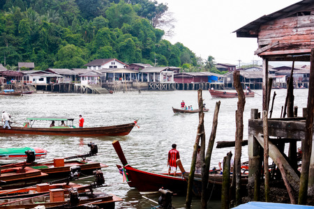 embark: Ranong, Thailand- August 8, 2012: Thailand sea port the frontier country to Victoria Point island of Myanmar.