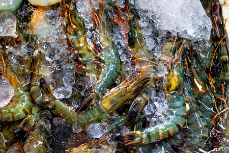 defrost: Fresh Shrimp is heap with ice in basin at supper market.Top view shot.