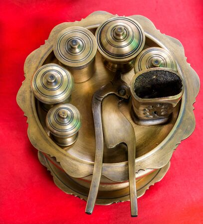 receptacle: The brass receptacle for betel,close up and top view shot.
