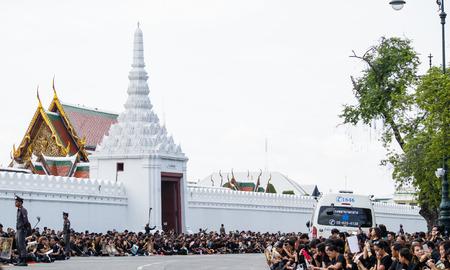 adulyadej: Bangkok, Thailand - October 22, 2016 : Thai people crowd in funeral of of His Majesty King Bhumibol Adulyadej at grand royal palace.