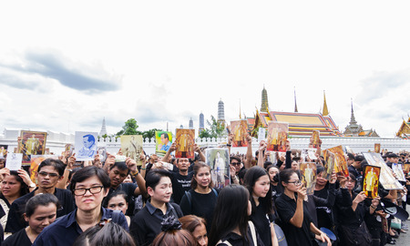 adulyadej: Bangkok, Thailand - October 22, 2016 : Thai people in funeral of of His Majesty King Bhumibol Adulyadej at the royal grand palace.