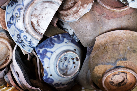 The oldie chinese bowl, The culture handmade  pottery made from clay and kiln. Stock Photo
